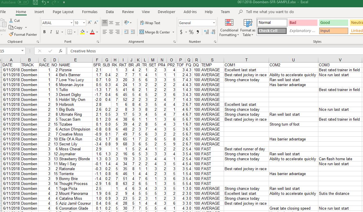 Horse Racing Excel Data Tutorial