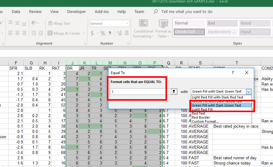 Horse Racing Excel Data Tutorial